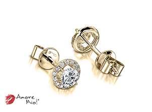 Aretes de oro amarillo de 18kt! 1.00 a 1.25 cts.<br>Diamante  round de 0.21 quilates, Color-D,Claridad-VS2,Diamante Mejorado-None